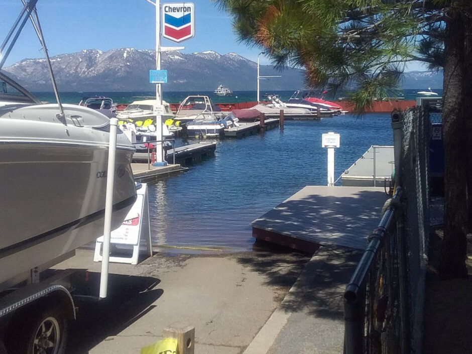 Boat ramp at marina on Lake Tahoe